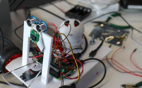 A photo of a robot built by starting SWC PhD students during boot camp
