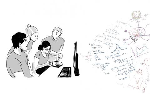 Students at computer illustration